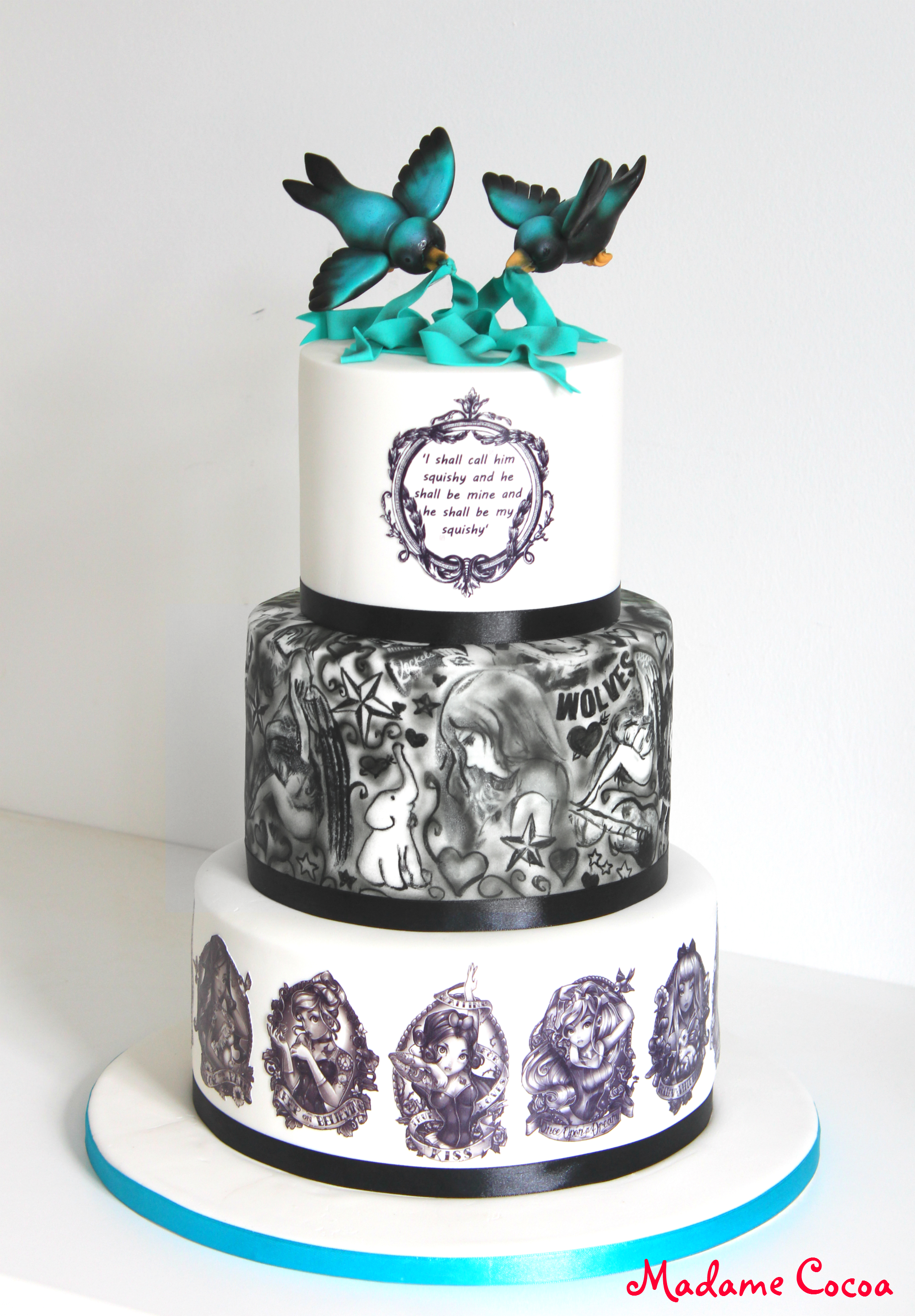 Disney tattoo wedding cake