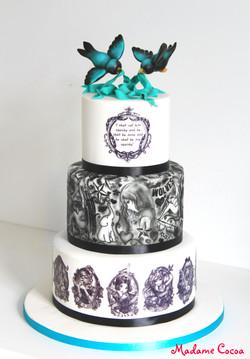Disney tattoo wedding cake