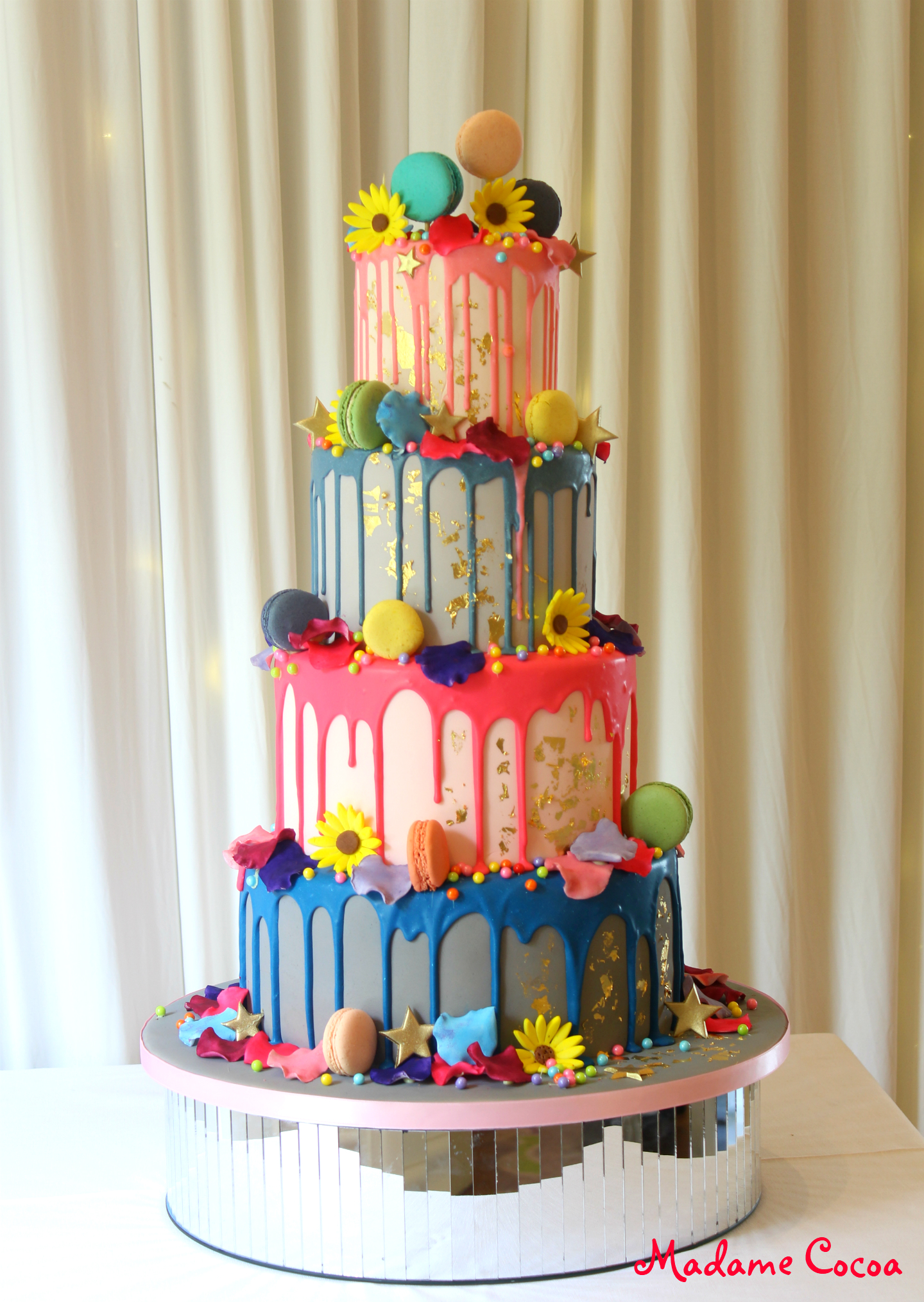 Colour drip wedding cake