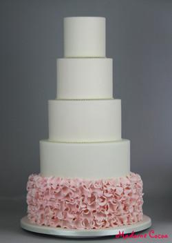 5 tier pink ruffles wedding cake
