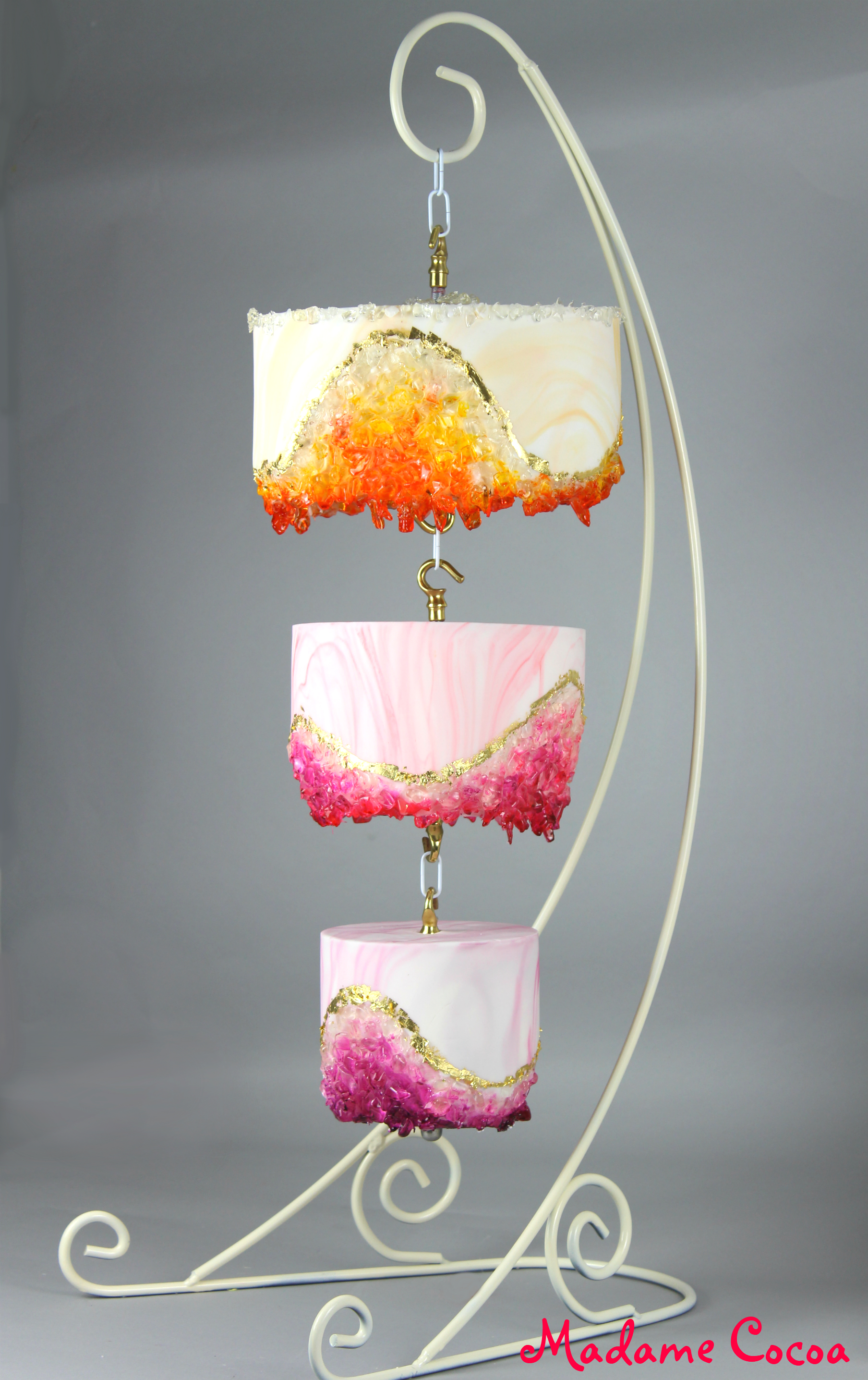 Chandelier geo wedding cake