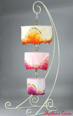 Chandelier geo wedding cake