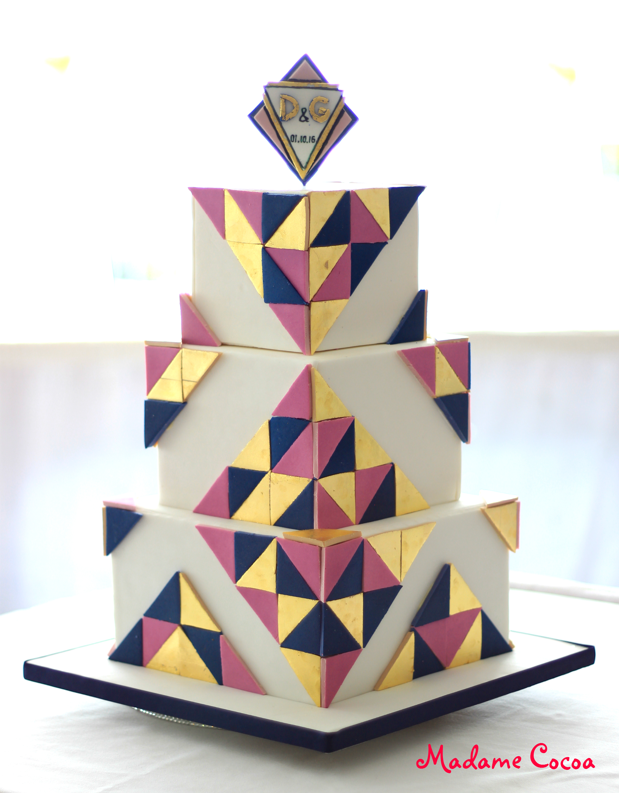 Square geometrical wedding cake