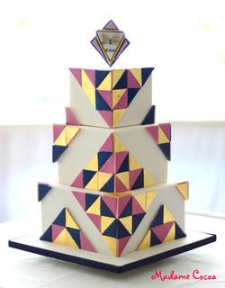 Square geometrical wedding cake
