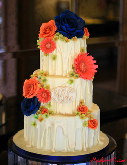 Autumnal chocolate wedding cake