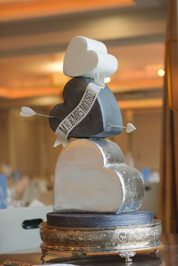 Valentine hearts wedding cake