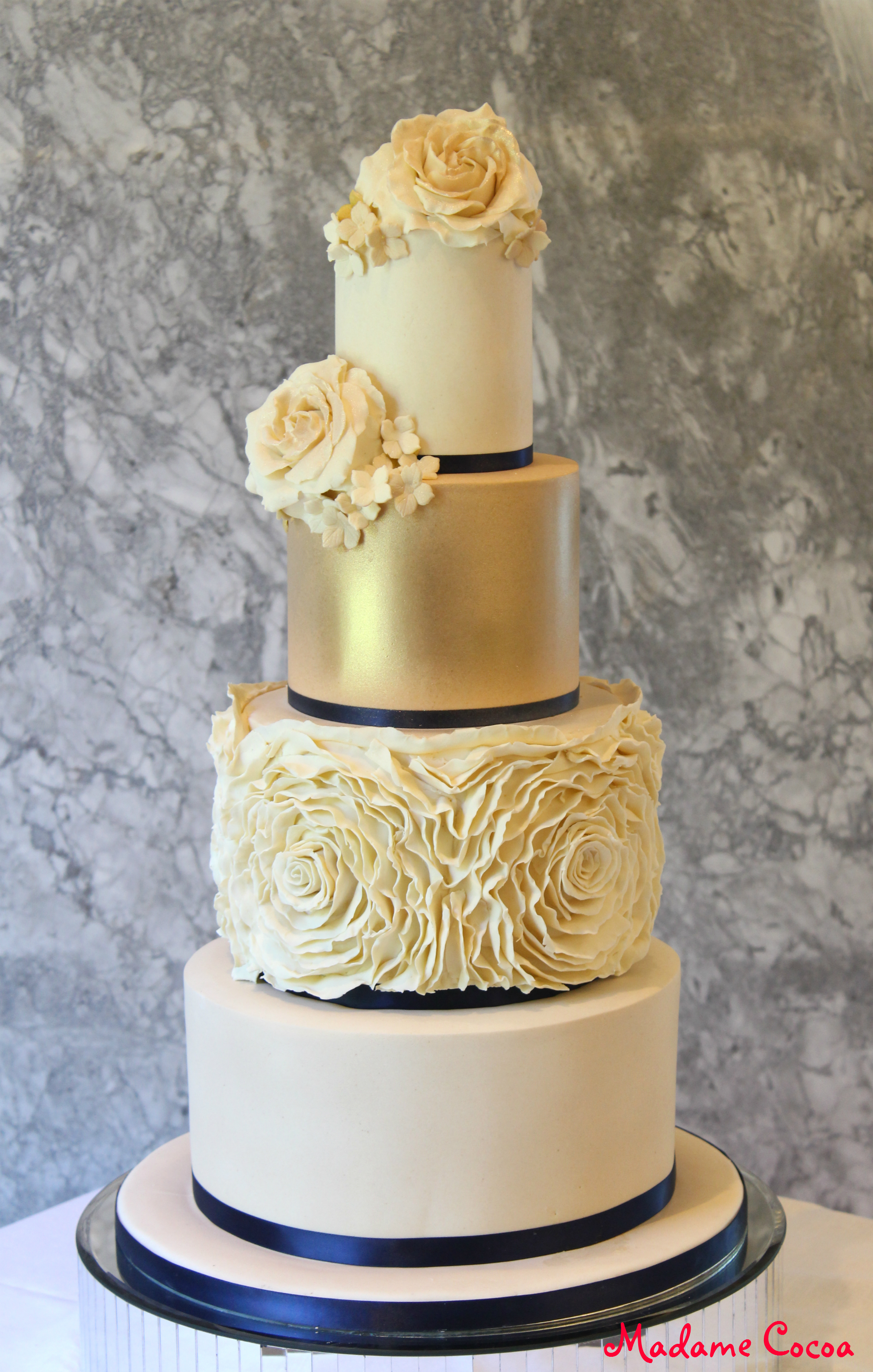 ivory ruffle wedding cake