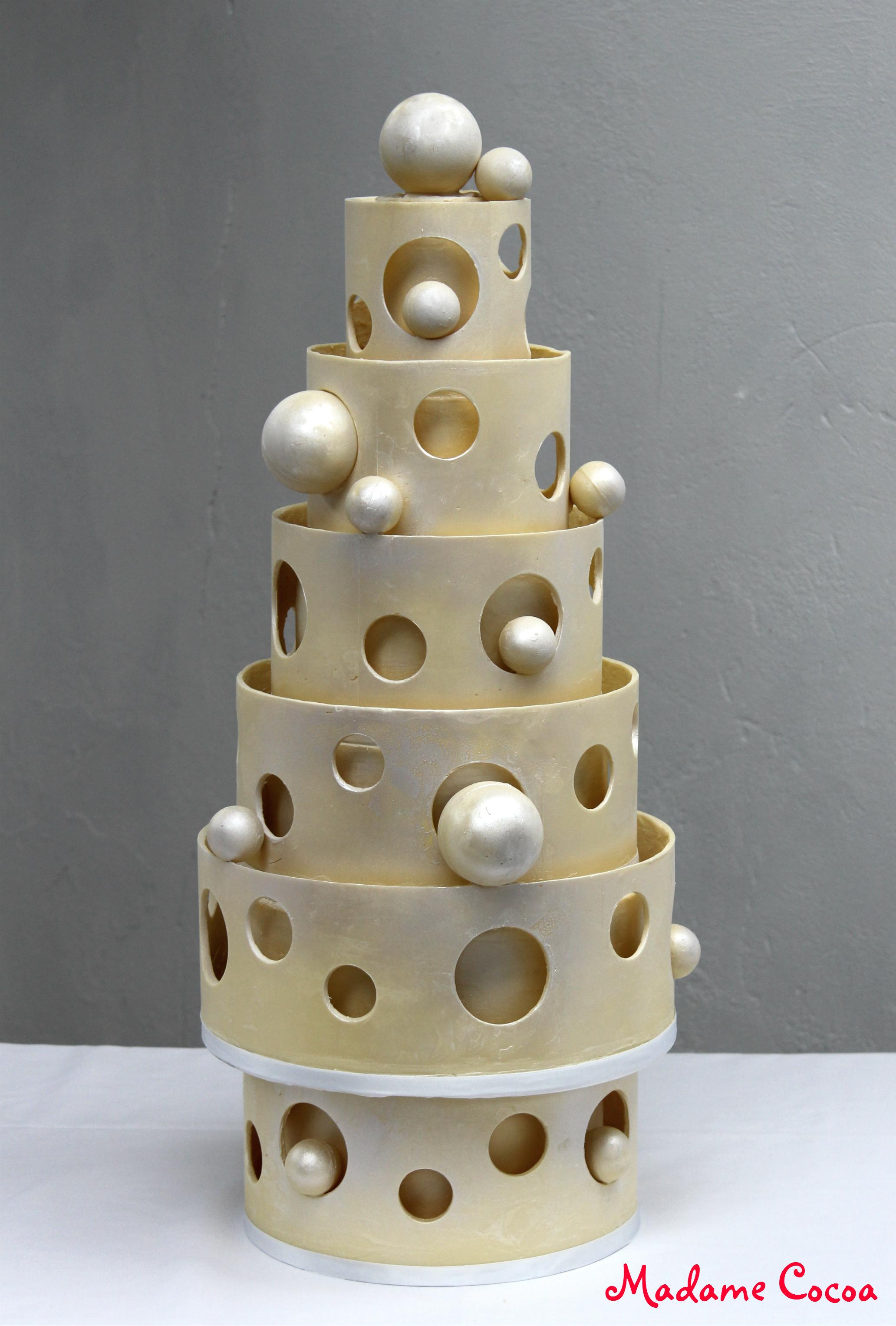 White chocolate modern wedding cake