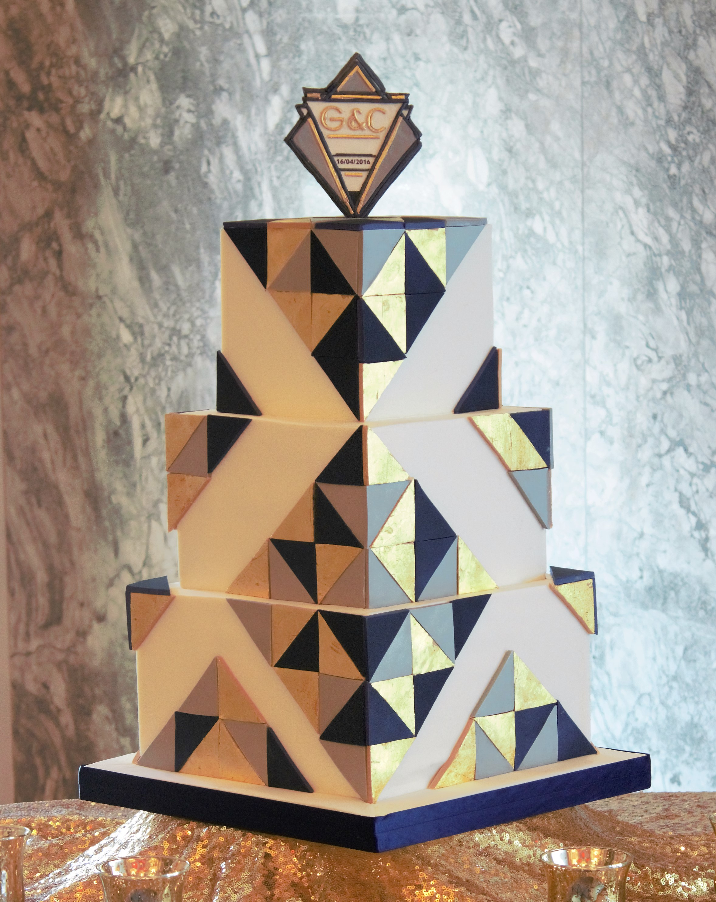 Square art deco wedding cake