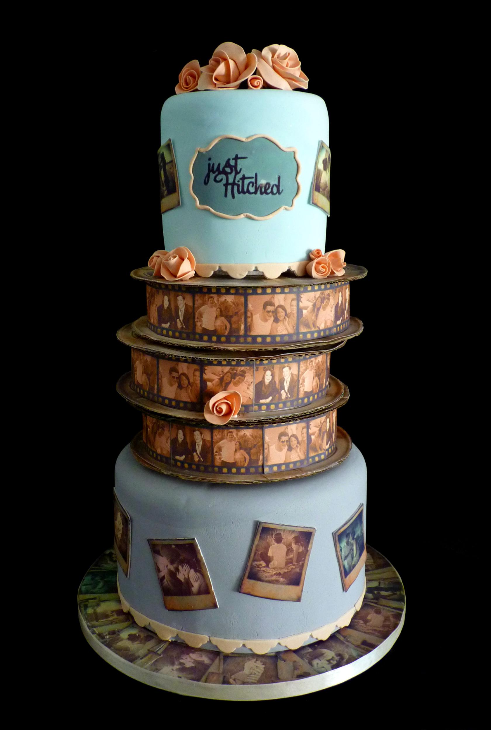 Vintage polaroid wedding cake