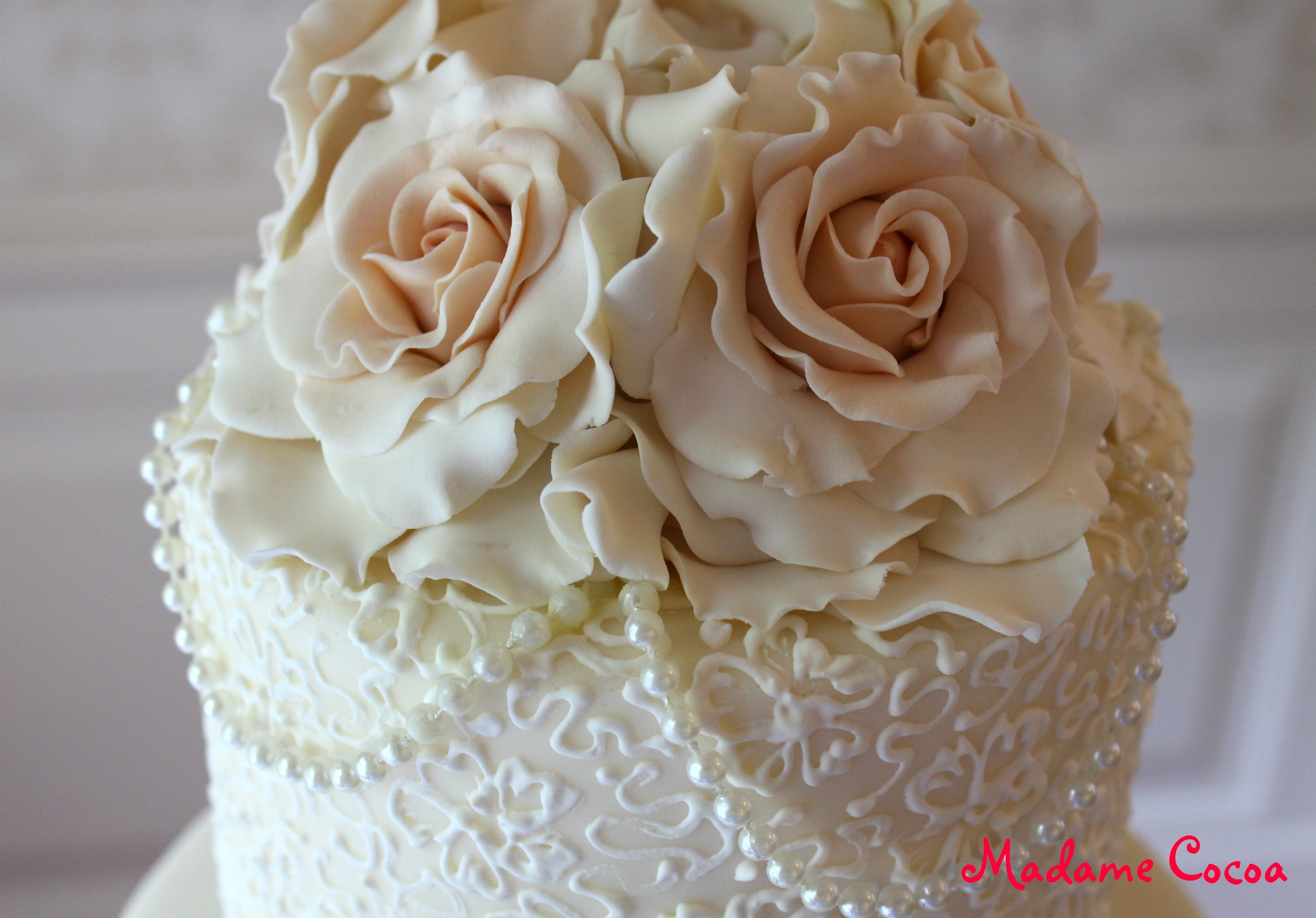 Lace & Pearls Wedding Cake Top