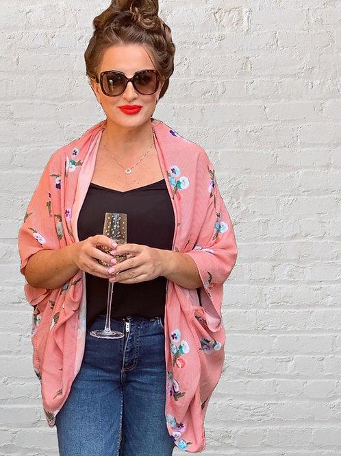 Model wearing pansy stripe kimono style shrug