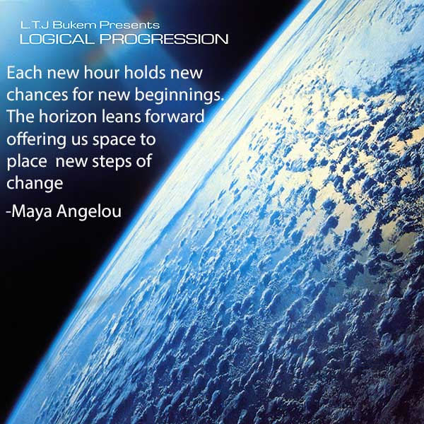 Maya Angelou quote with Logical Progession album cover