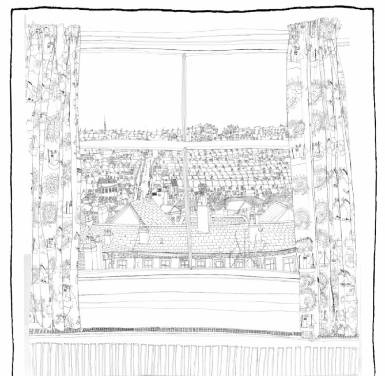 A line drawing image of a rear window looking out over Southover Street