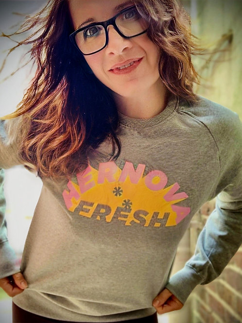 Grey marl sweatshirt with slogan on front in pink/yellow print