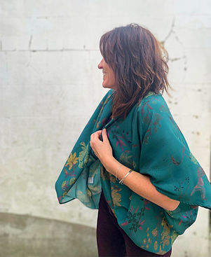 Teal green patterned kimono top