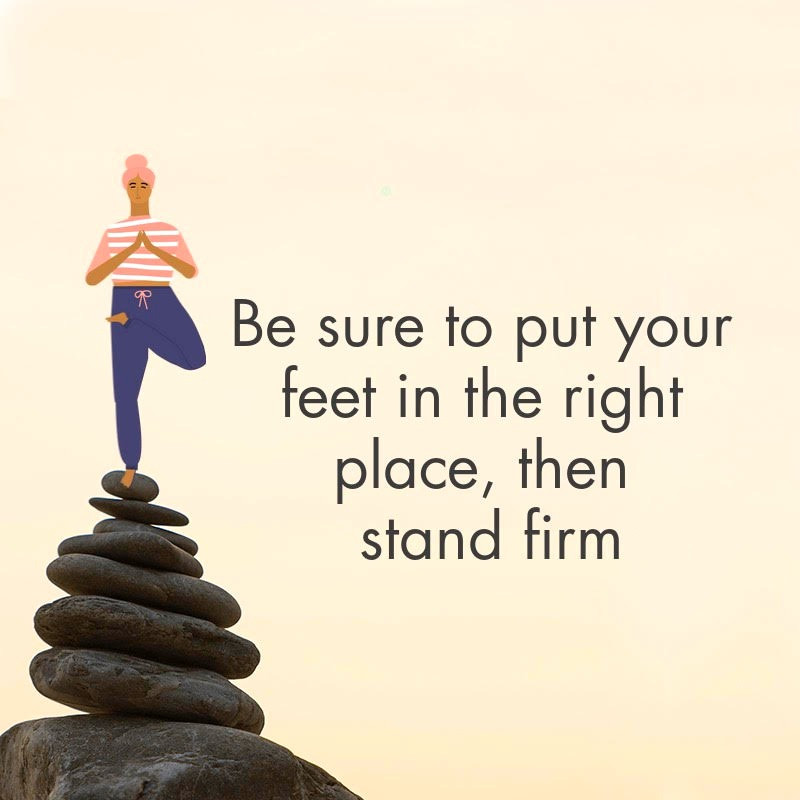 Info graphic of person in tree pose standing on rocks