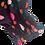 close up of shirred cuff in bright print fabric