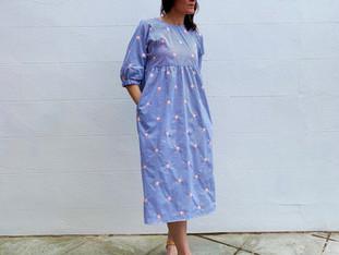 Kay midi dress with pockets in new cotton fabrics