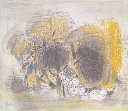 Pastel BOLIN Arbres jaunes bruns 49x57