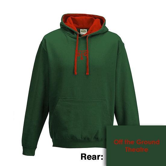 Hoody - Bottle Green/Fire Red