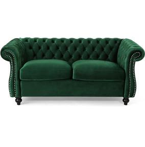 Emerald green tufted velvet sofa