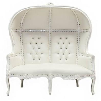 Double Canopy Throne White White