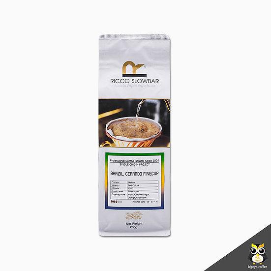 เมล็ดกาแฟคั่วพิเศษ! BRAZIL, Cerrado Finecup Natural Process 200 กรัม
