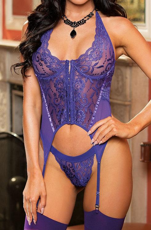 Seductive Stretch Lace Bustier Set Purple
