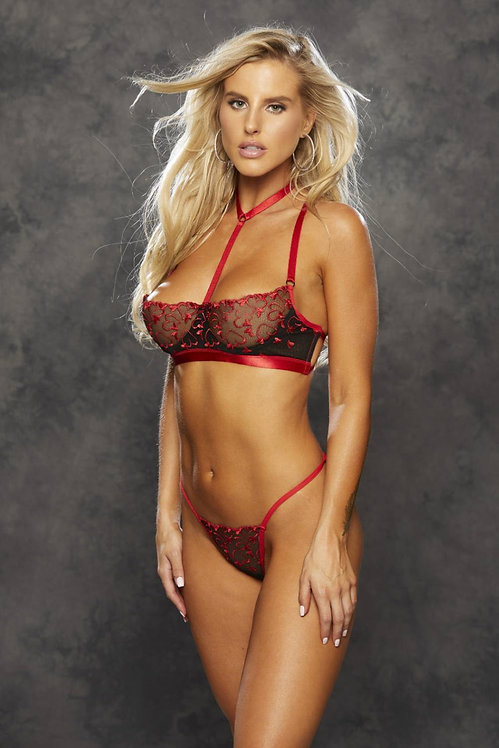 Heart Embroidery Bra Set