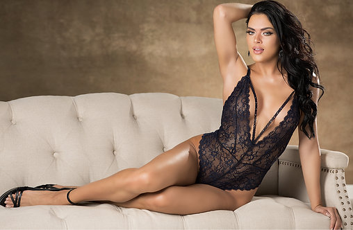 Lace Teddy In Navy