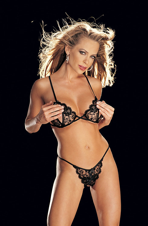 Peek-a-boo Open Cup Bra And Panty Set Black