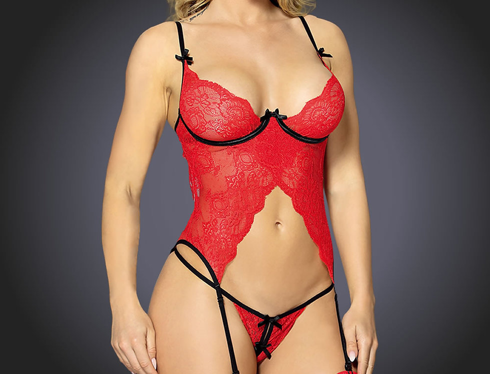 Red Bustier, Thong & Stockings