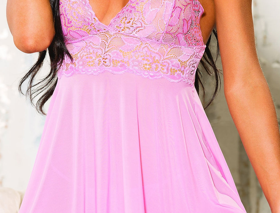 Stretch Lace And Mesh Babydoll In Pink (96618)
