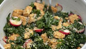 Warm Tempeh Kale and Radish Salad