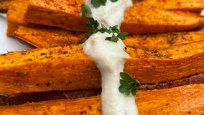 Roasted Sweet Potatoes with Garlic Cashew Cream