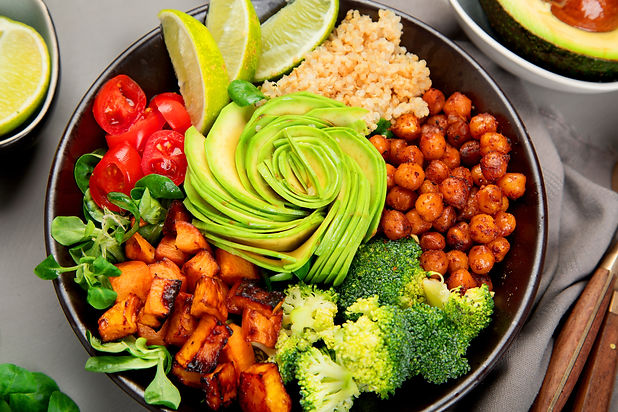 Buddha bowl of mixed grilled vegetables on light background. Healthy eating concept. .jpg