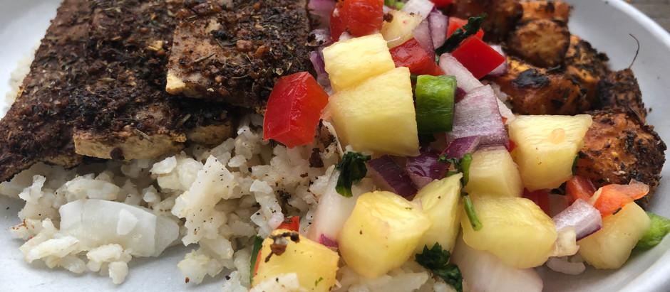 Jamaican Jerk Tofu With Pineapple Salsa