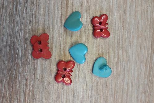 Boutons cœur et papillon 14-14mm 6pcs