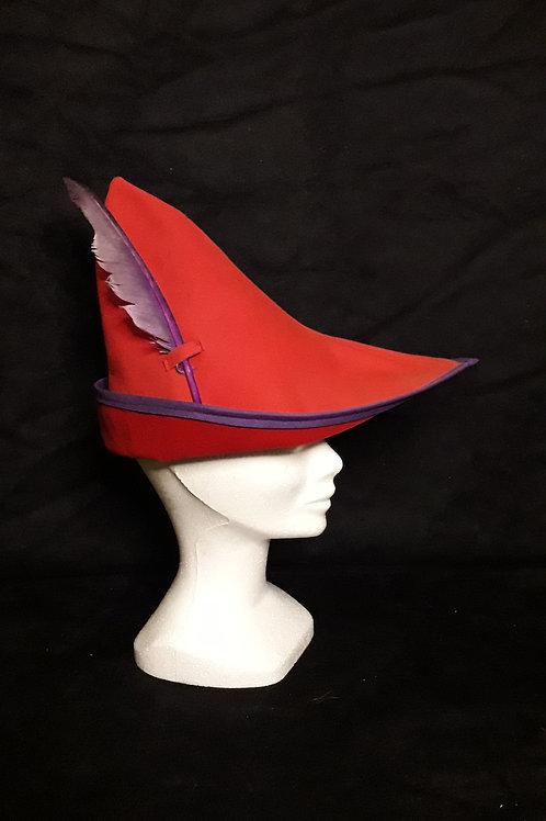Coiffe Robin rouge et violet