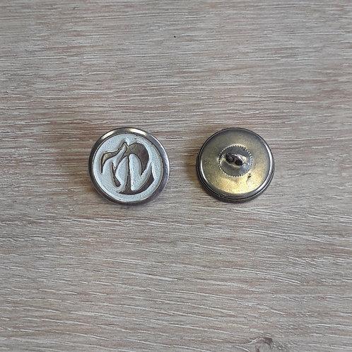 Bouton blanc, argent 22 mm à queu
