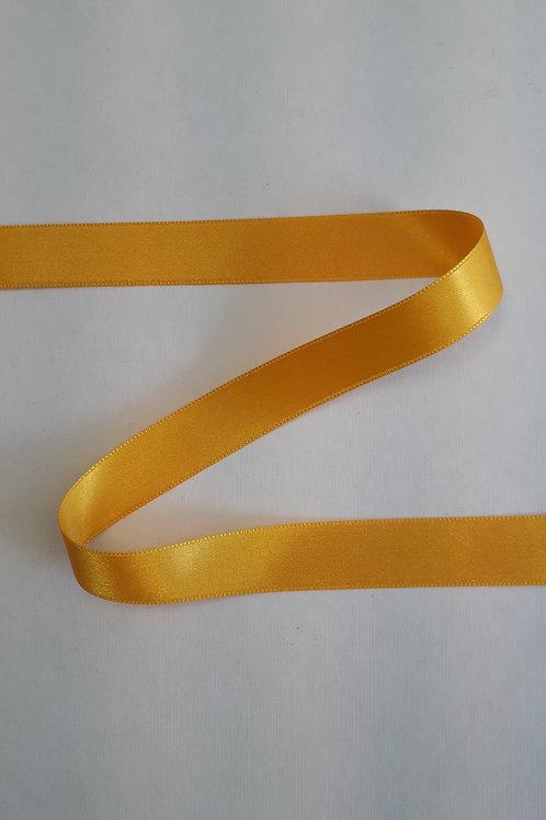 Ruban satin double face 15mm jaune or (052)