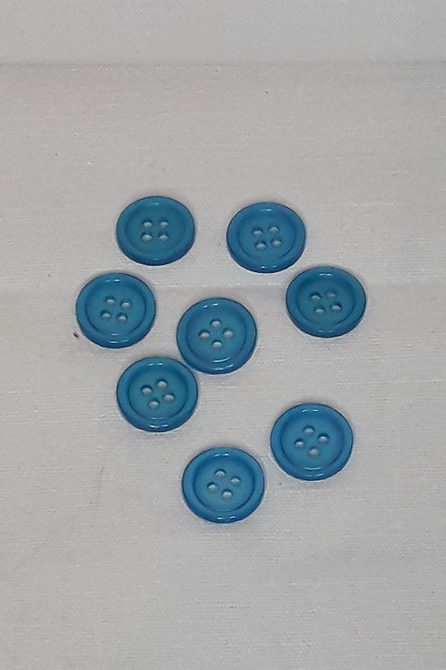 Bouton turquoise polyester 4 trous
