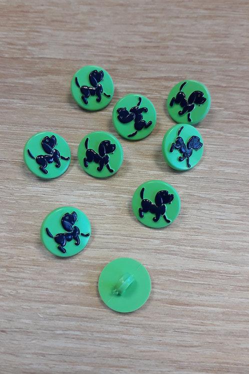 Bouton petit chien vert 15mm