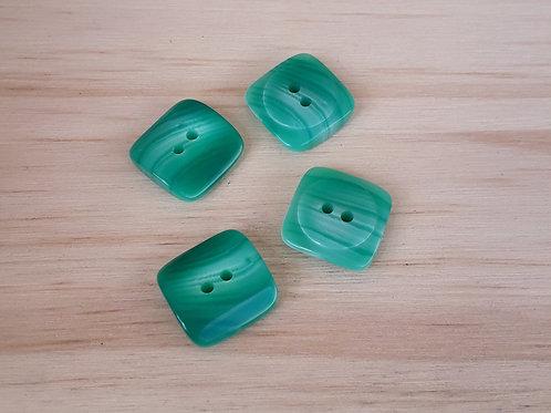 Bouton fantaisie vert 22mm 2 trous 4pcs