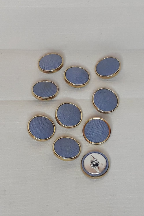 Bouton bleu/doré tissu à queue