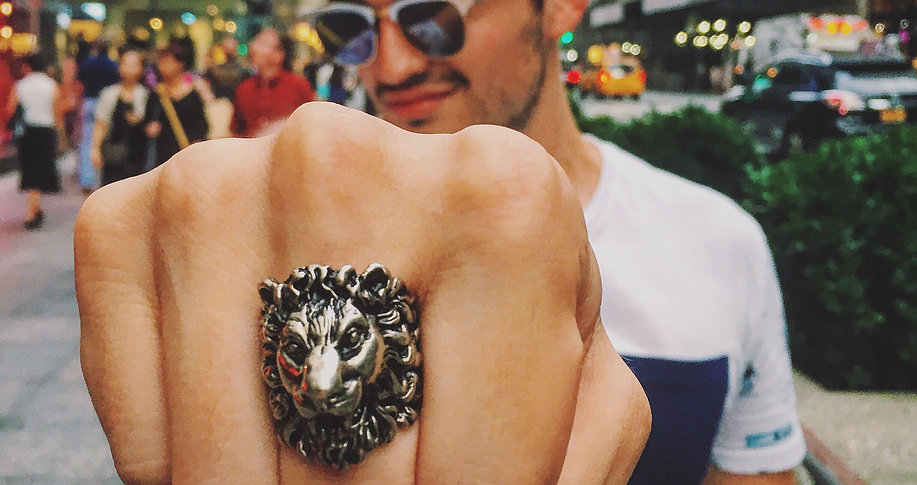 Christian with Gucci Lion Ring