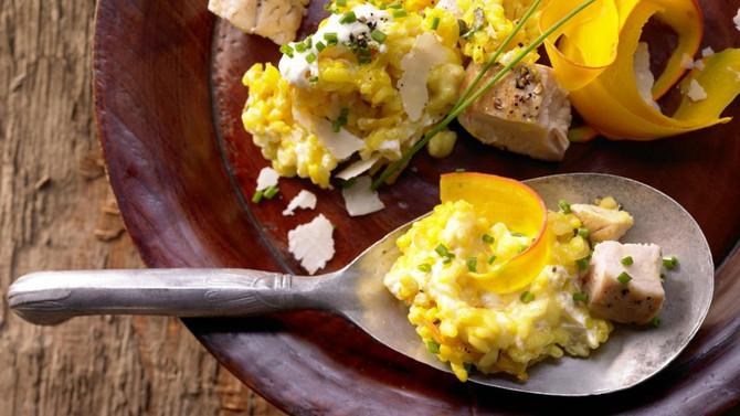Rezepte für die Bordküche: Risotto mit Kürbis und Hähnchenfleisch