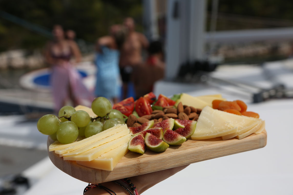 Fruit-and-cheese-platter-onboard-catamar