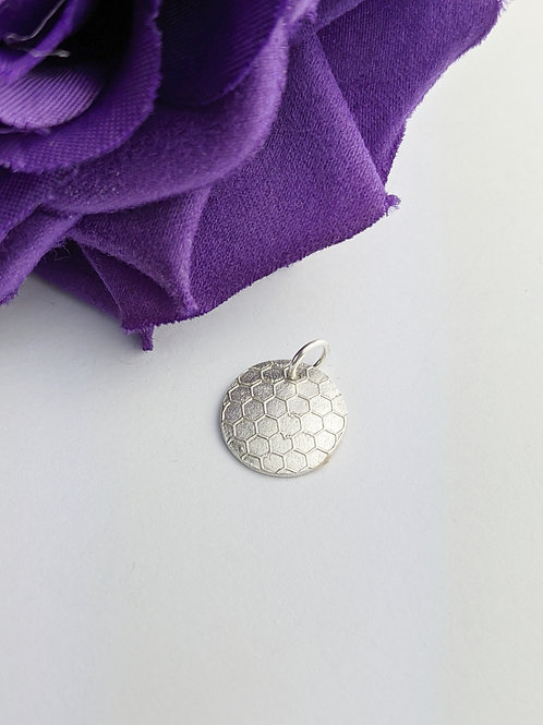Sustainable Silver Honeycomb Charm. Clip on or jump ring. Make your own bracelet
